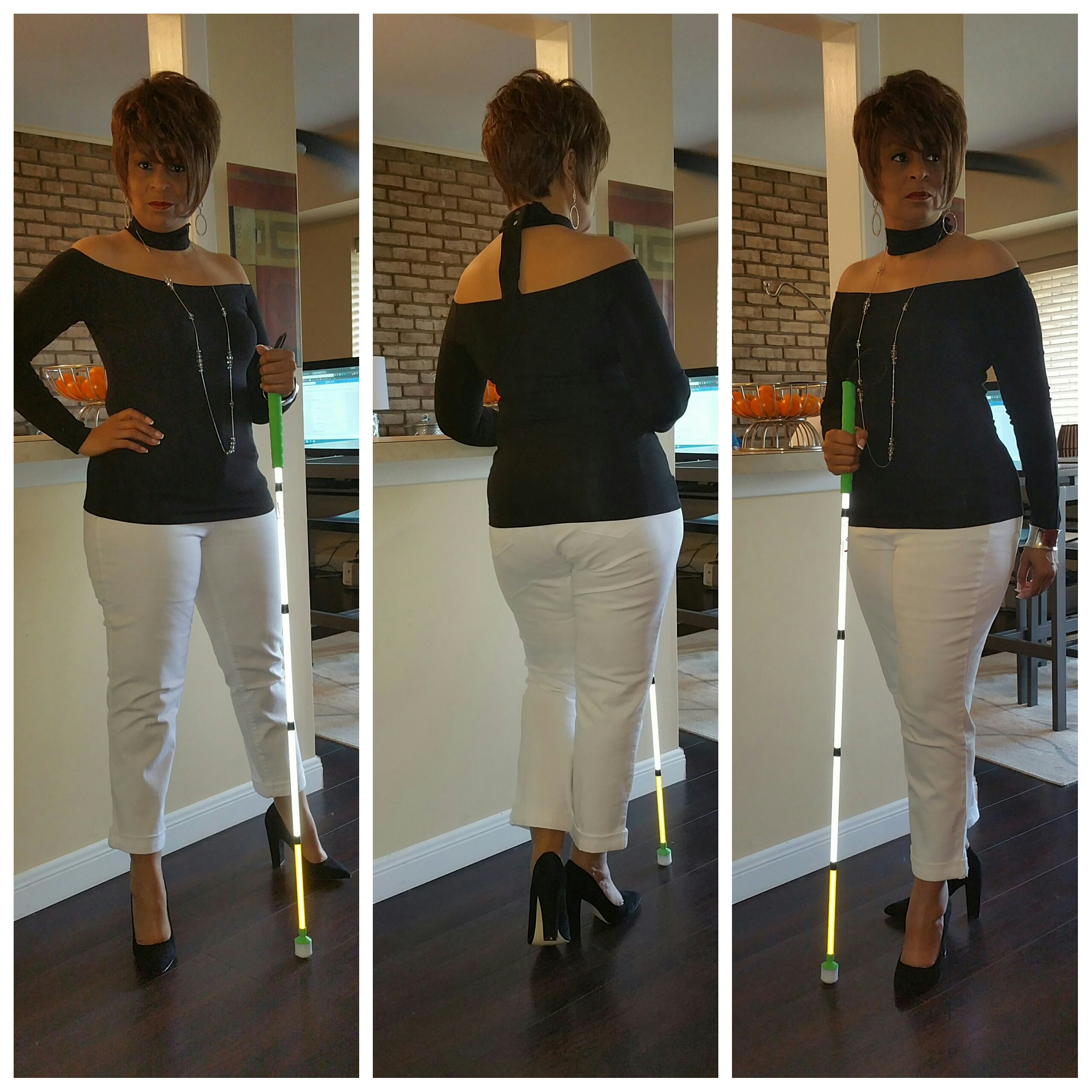 Tri collage of me posing in front of my counter with my white cane wearing a black off the shoulder choker top, white jeans, black suede chunky high heels and silver jewelry..