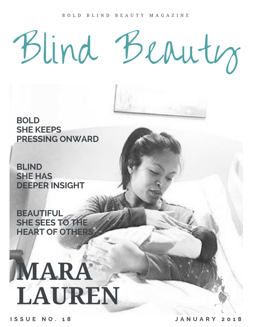 Blind Beauty mock fashion magazing cover. Full image description of Mara Lauren and her baby are in the body of the post.